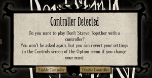 Controller prompt when starting the game.