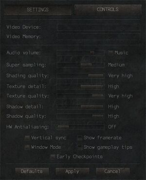 In-game video and audio settings.