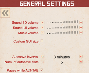 In-game audio settings, and general settings.