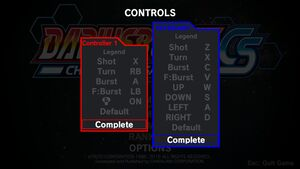 Input mapping menu (Varies with number of input devices)