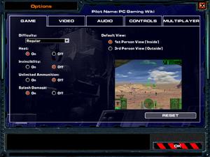 In-game general settings.