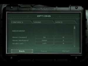 Control options menu.