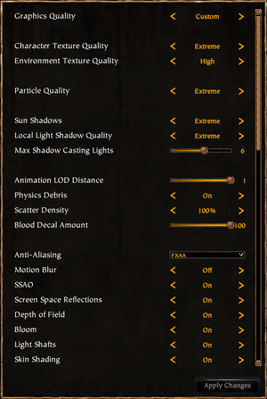 In-game graphics settings. Every option has an tooltip describing what it does and what it requires from the system.