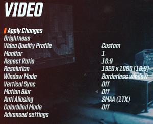 General video settings.