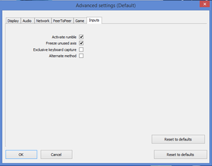 External input settings.