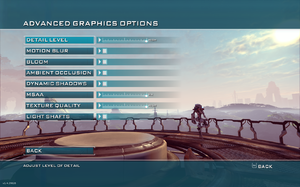 In-game advanced video settings.