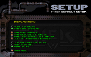 Video settings (in setup).