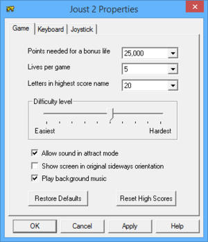 In-game general settings (for Joust 2).