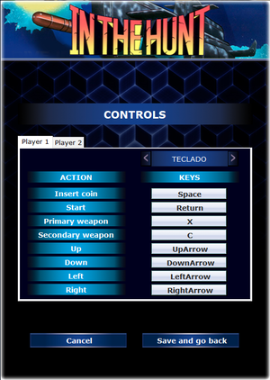 In-game input settings (In The Hunt).