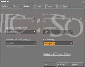In-game key audio options.