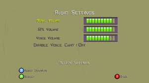 In-game audio settings.