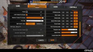 In-game video settings - Screen 2 of 2.