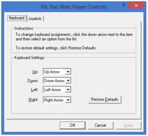 In-game key map settings (for Ms. Pac-Man).
