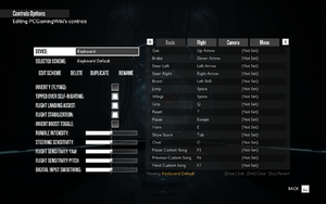 In-game controls settings.