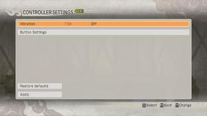 Input general options menu
