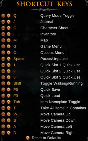 In-game shortcut keys.