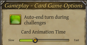 Card gameplay settings.