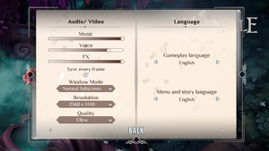Video, Audio, and Language settings