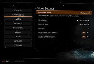 Ingame video settings.