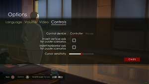 In-game controller toggle and settings.