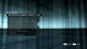 In-game control settings (single player).