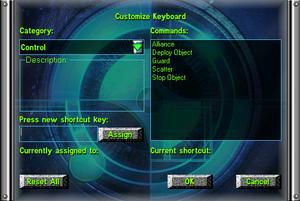 Input options menu