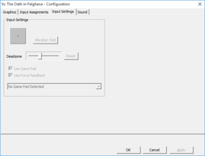 External input settings.