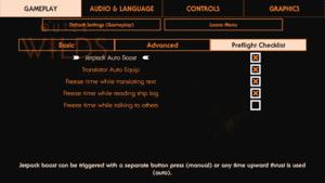 Preflight Checklist gameplay settings