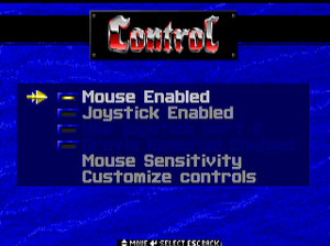In-game general control settings.