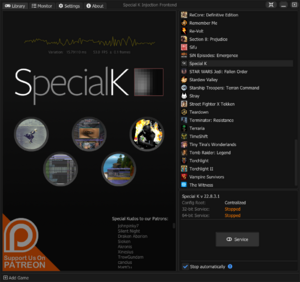 The modern launcher Special K Injection Frontend (SKIF)