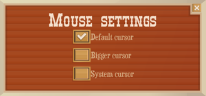 Mouse settings.