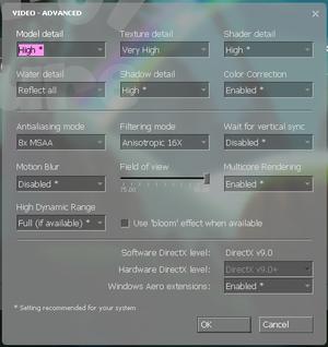Advanced video settings