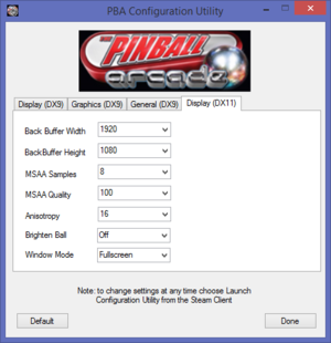 DirectX 11 display and graphics settings.