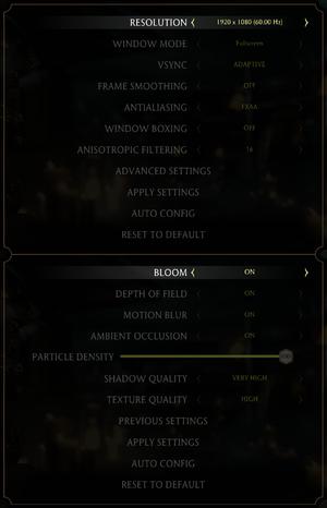 Graphics settings menu.