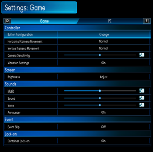 General and audio settings.