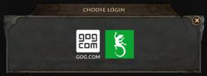 In-game multiplayer login options (GOG.com version).