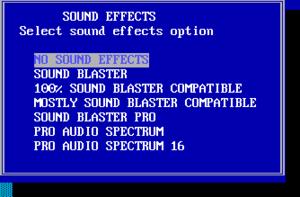 SFX setup options.