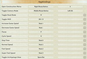 Keybindings settings.