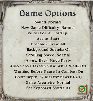 General in-game settings.