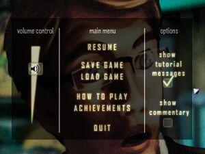 Pause menu with settings