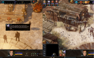 Screenshot showing subtitles for story dialogue (left) and NPC chatter (right).
