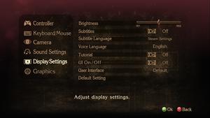 General display settings.