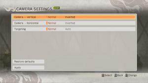Camera options menu