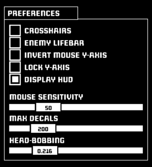 """Preferences"" (Gameplay options)."