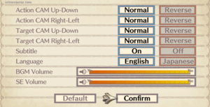 In-game audio & input inversion settings.