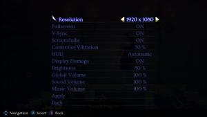 Minoria's game settings.