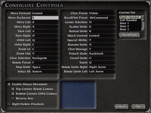 In-game controls menu.