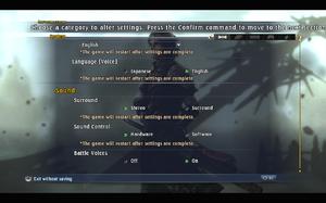 In-game general video/audio settings (2/2).