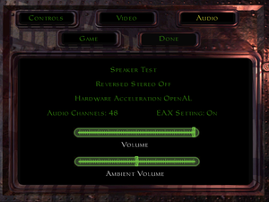 In-game audio settings (GOG.com version).