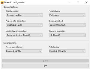 External settings for GOG version.